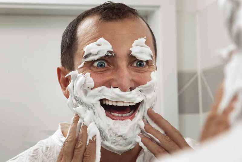 crazy man shave